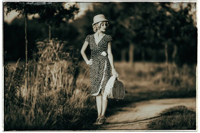 Classic Black And White Photo Of 1930S Summer Fashion Woman With